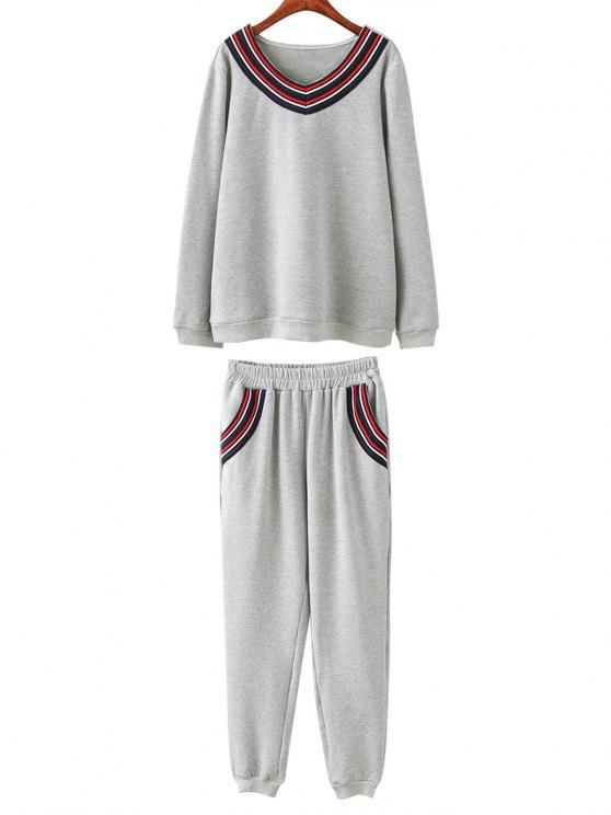 hot Fleece Plus Size Sweatshirt With Pants - GRAY 3XL