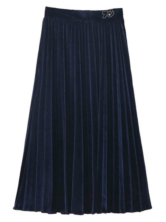 Terciopelo plisado falda de Midi - Azul Purpúreo L