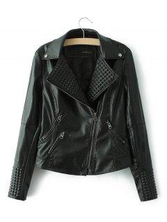 PU Fitting Zip-Up Motorcycle Jacket - Black S