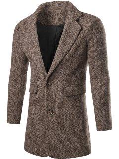 Single Breasted Flap Pocket Tweed Coat - Coffee L