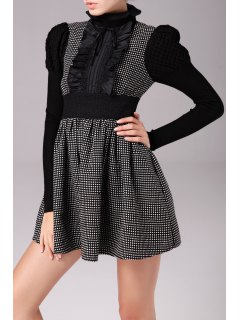 Lace Ruffle Polka Dot Min Dress - Black S