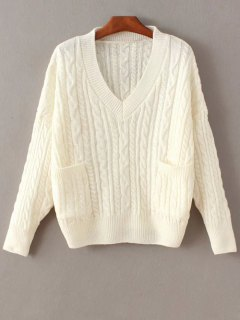 Pockets Cable Knit Sweater - White