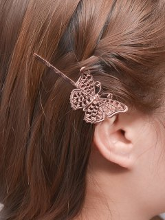 Butterfly Alloy Hair Accessory - Rose Gold