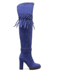 Fringe Criss-Cross Chunky Heel Thigh Boots - Blue 37
