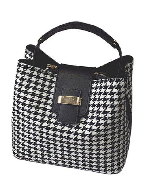online Houndstooth Metal Colour Block Tote Bag - BLACK  Mobile
