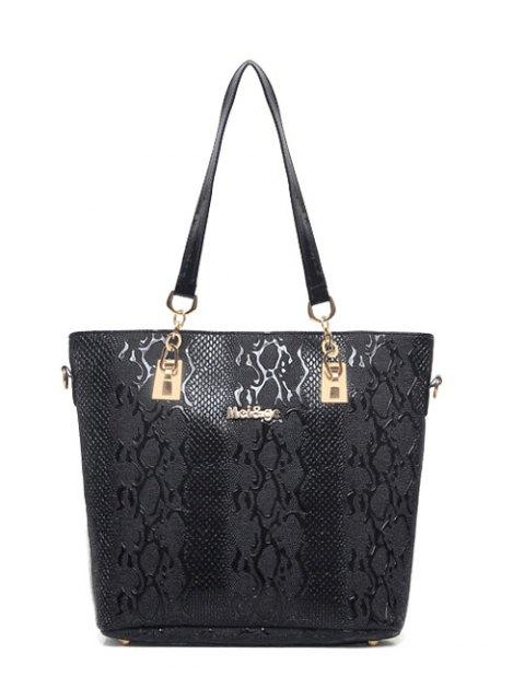 sale Embossed PU Leather Metals Shoulder Bag - BLACK  Mobile