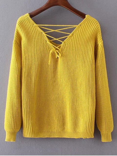womens Double-V Lace-Up Sweater - YELLOW ONE SIZE Mobile