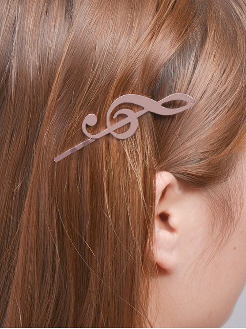 shop Music Note Alloy Hair Accessory - ROSE GOLD  Mobile