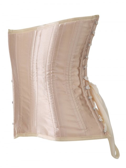ladies Shiny Lace Up Buckle Corset - APRICOT L Mobile