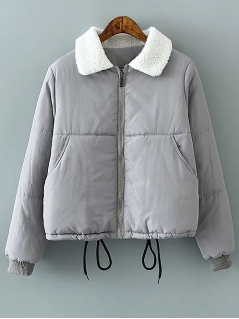 women's Borg Collar Quilted Puffer Jacket - GRAY L Mobile
