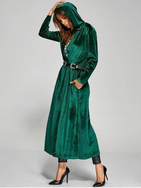 women's Hooded Velvet Long Coat - GREEN ONE SIZE Mobile