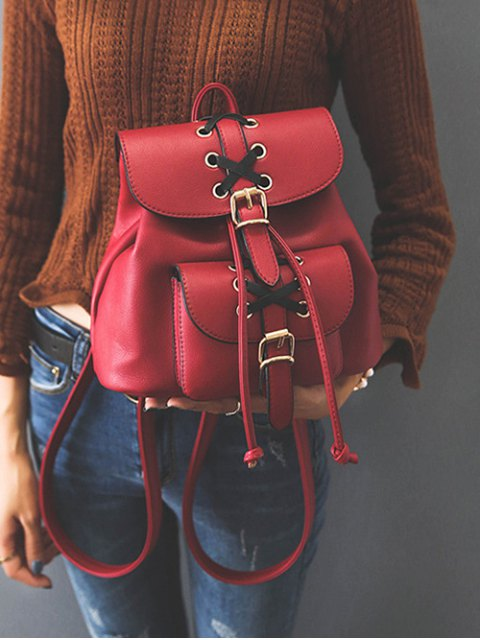 women's Buckles Eyelet Criss-Cross PU Leather Backpack - RED  Mobile