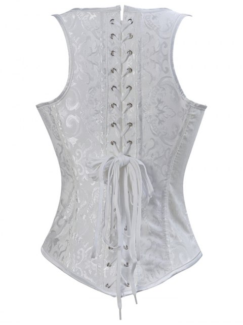 unique Paisley Shapewear Lace Up Corset Vest - WHITE 3XL Mobile