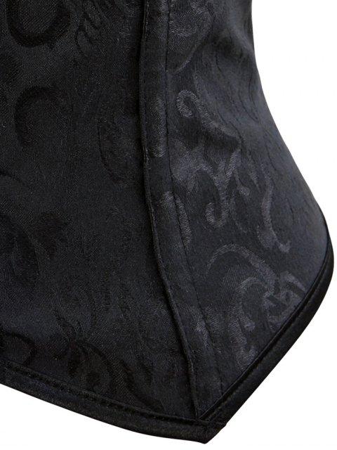 lady Paisley Shapewear Lace Up Corset Vest - BLACK 4XL Mobile