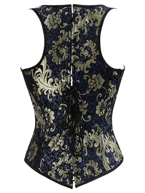 outfit Vintage Jacquard Lace Up  Corset Vest - DEEP BLUE 5XL Mobile