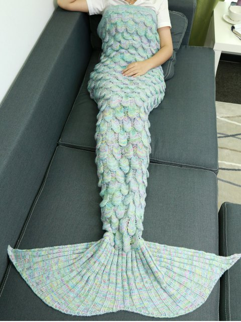 hot Fish Scale Knit Mermaid Throw Blanket - AZURE  Mobile
