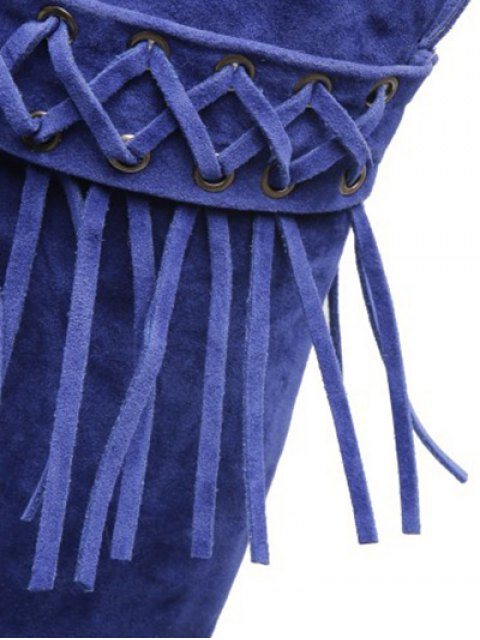 chic Fringe Criss-Cross Chunky Heel Thigh Boots - BLUE 39 Mobile