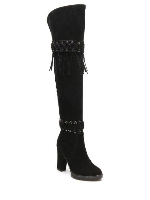 buy Fringe Criss-Cross Chunky Heel Thigh Boots - BLACK 38 Mobile
