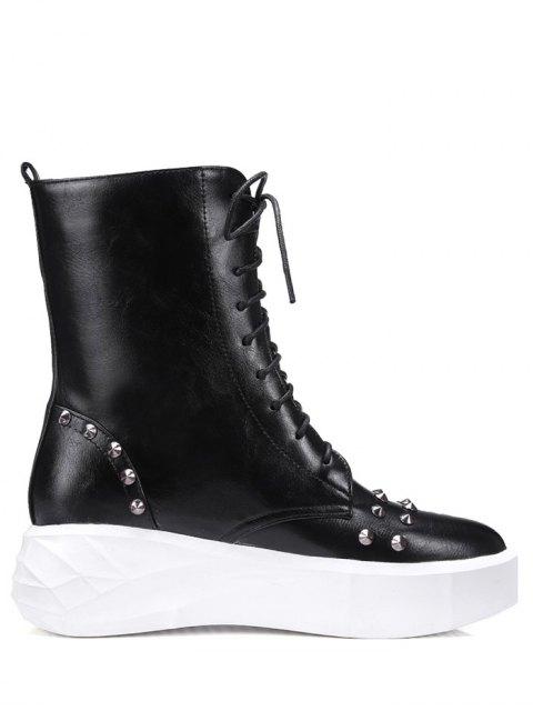 ladies Metal Rivets Platform Tie Up Short Boots - BLACK 39 Mobile