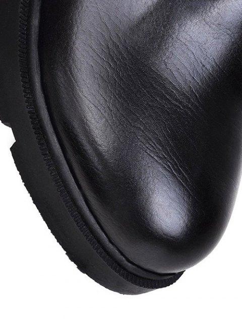 outfit Increased Internal Platform Color Spliced Ankle Boots - BLACK 39 Mobile