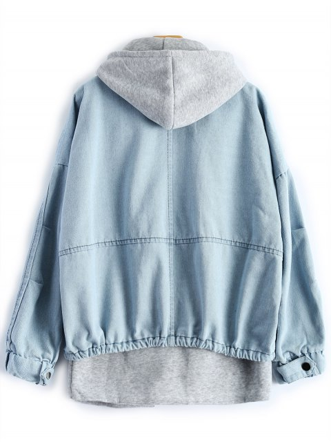 lady Hooded Waistcoat With Jean Jacket - LIGHT BLUE XL Mobile
