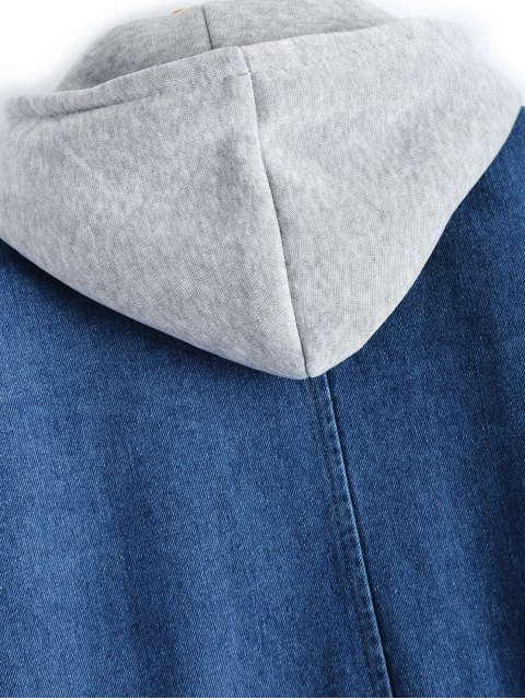 shop Hooded Waistcoat With Jean Jacket - DEEP BLUE S Mobile