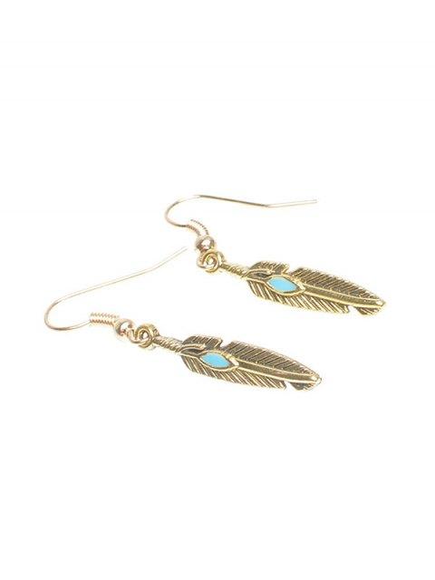 online Feather Beaded Resin Earrings - GOLDEN  Mobile