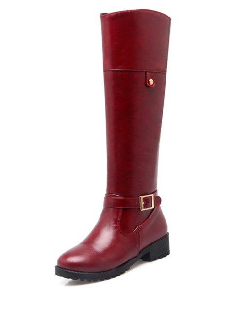 fancy Buckle Chunky Heel Zipper Knee-High Boots - WINE RED 38 Mobile