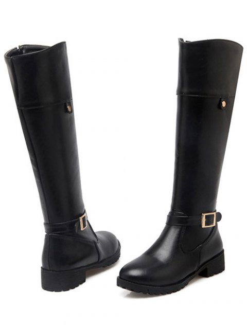 unique Buckle Chunky Heel Zipper Knee-High Boots - BLACK 39 Mobile