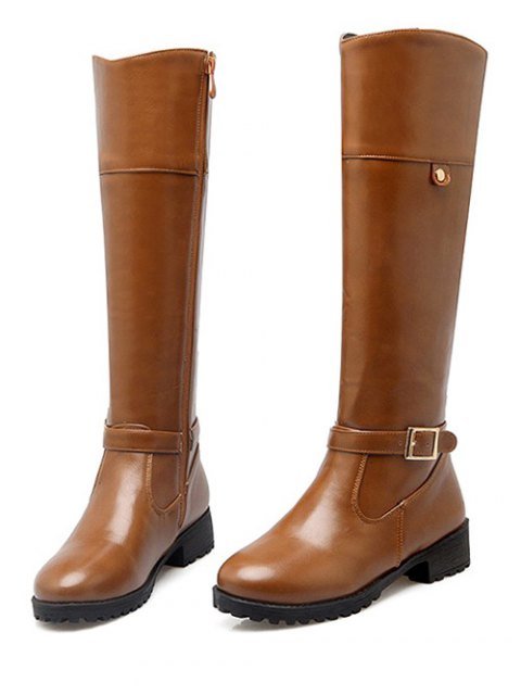 womens Buckle Chunky Heel Zipper Knee-High Boots - LIGHT BROWN 37 Mobile