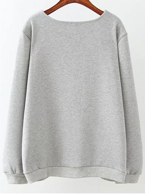 hot Fleece Plus Size Sweatshirt With Pants - GRAY 3XL Mobile