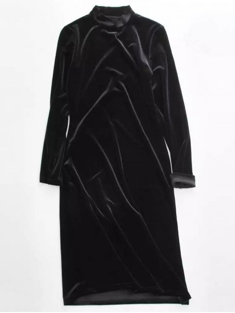 unique Velvet Stand Neck Long Sleeve Dress - BLACK ONE SIZE Mobile