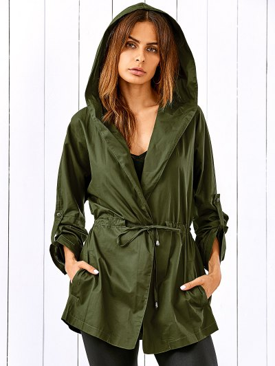 Drawstring Hooded Military Jacket - Army Green