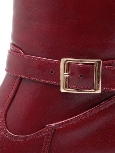Buckle Chunky Heel Zipper Knee-High Boots - WINE RED 38 Mobile