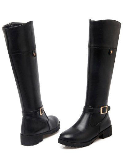 Buckle Chunky Heel Zipper Knee-High Boots - BLACK 39 Mobile