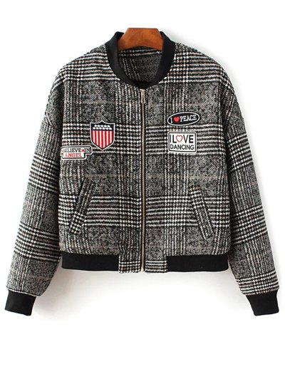 Houndstooth Letter Patched Jacket
