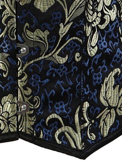 Vintage Jacquard Lace Up  Corset Vest - DEEP BLUE 6XL Mobile