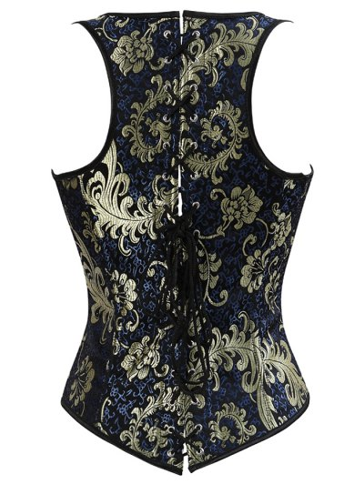 Vintage Jacquard Lace Up  Corset Vest - DEEP BLUE XL Mobile