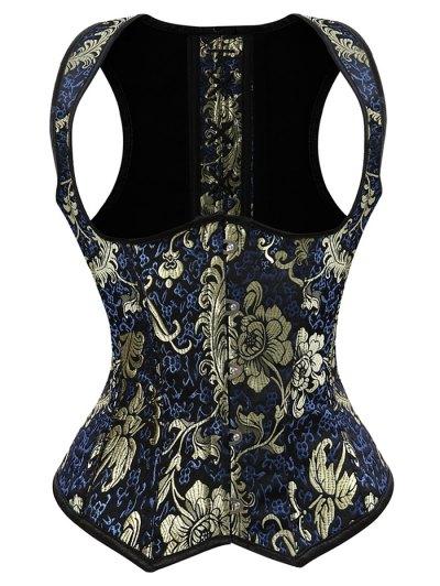 Vintage Jacquard Lace Up  Corset Vest - DEEP BLUE S Mobile