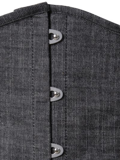 Lace Up Shapewear Denim Corset Vest - GRAY 6XL Mobile