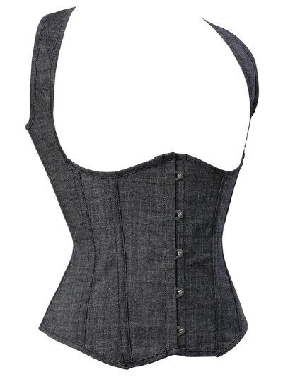 Lace Up Shapewear Denim Corset Vest - GRAY 3XL Mobile