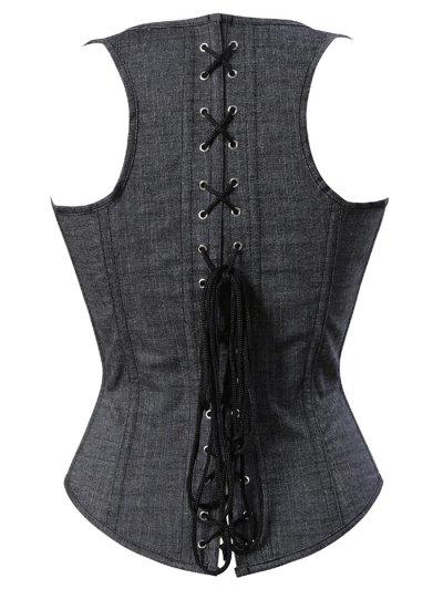 Lace Up Shapewear Denim Corset Vest - GRAY 2XL Mobile