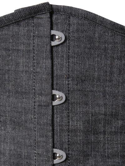 Lace Up Shapewear Denim Corset Vest - GRAY XL Mobile