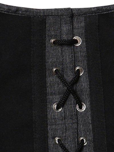 Lace Up Shapewear Denim Corset Vest - GRAY L Mobile
