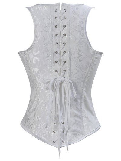 Paisley Shapewear Lace Up Corset Vest - WHITE 6XL Mobile