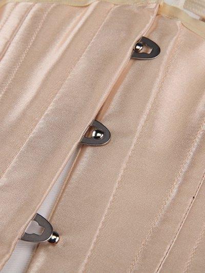 Shiny Lace Up Buckle Corset - APRICOT L Mobile