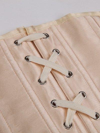 Shiny Lace Up Buckle Corset - APRICOT M Mobile