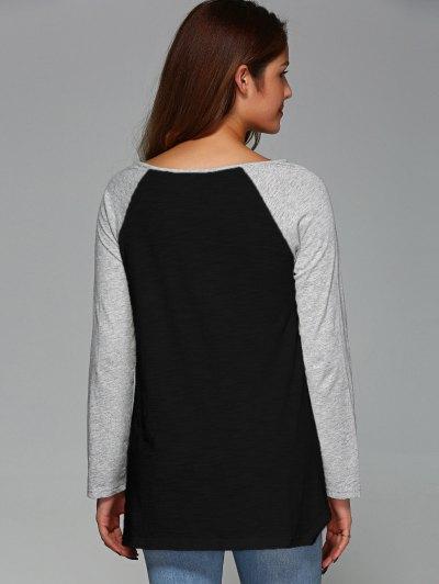 Raglan Sleeve Asymmetrical Tee - BLACK L Mobile
