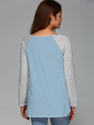 Raglan Sleeve Asymmetrical Tee - LIGHT BLUE M Mobile