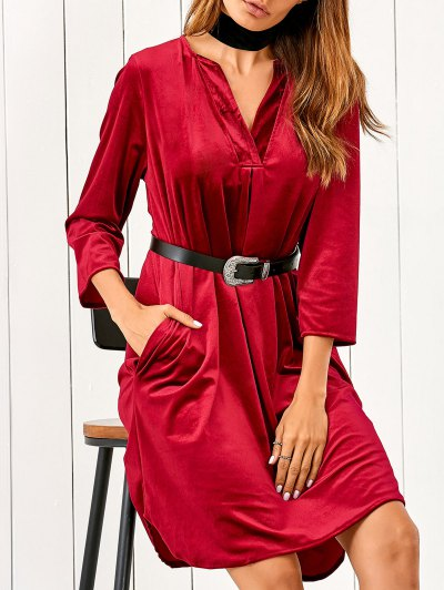 V Neck Pockets Midi Velvet Dress - Red